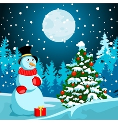 Winter landscape Christmas night New Year s Eve vector image vector image
