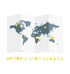 World map paper guide with pins set vector