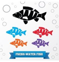 Fish icon set Perch redfin perch Percidae vector image vector image
