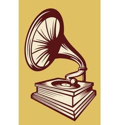 Gramophone with horn speaker vector