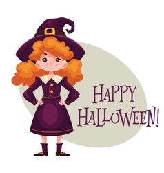 Happy girl dressed as witch for Halloween vector image