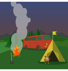 Hiking and outdoor recreation concept with flat vector image