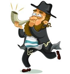 Jewish man with shofar vector image