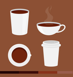 set of coffee cup with cap isolated on brown vector image