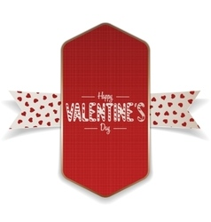 Textile valentines day red banner and white ribbon vector