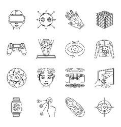 Virtual reality and gadgets icons set vector image