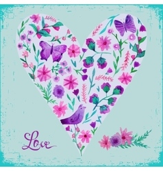 watercolor floral heart and vector image