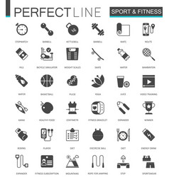 black classic web sport and fitness icons set vector image