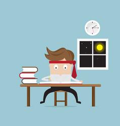 businessman working hard in night vector image