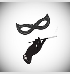 carnival mask hand cigarette in the mouthpiece vector image