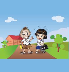 chillden boy and girl vector image