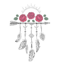 hand drawn boho style design with rose flower vector image vector image