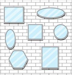 Mirror set design form on brick wall vector image