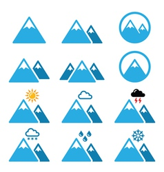Mountain winter icons set vector image vector image