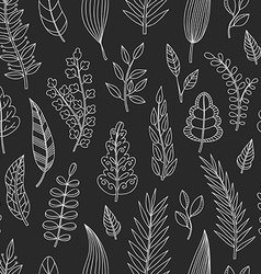 Seamless pattern with chalk leaves vector image vector image