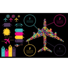 Set of elements for aviation ingographics vector image
