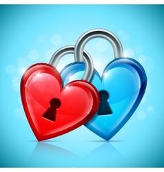 Two heart locks vector