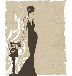 vintage retro woman silhouette background vector image vector image