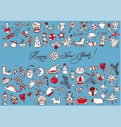big bundle of christmas doodles vector image vector image