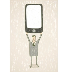 businessman with mobile phone vector image vector image