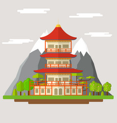cartoon japanese temple vector image