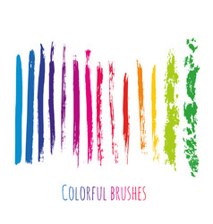 collection with colorful brush strokes elements vector image