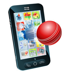 cricket ball flying out of mobile phone vector image vector image