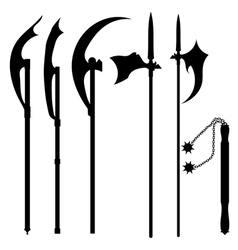 Set of silhouettes of halberds vector image vector image