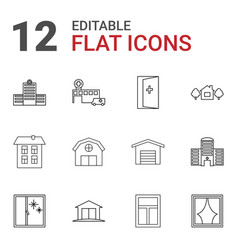 12 exterior icons vector image