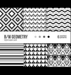 6 abstract patterns black and white geometry vector image