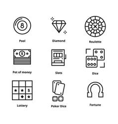 9 gamble line icon vector image
