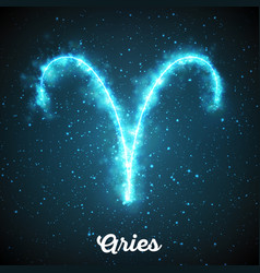 abstract zodiac sign aries on a dark vector image