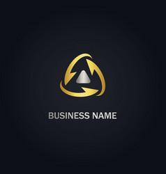 arrow circle triangle up gold logo vector image