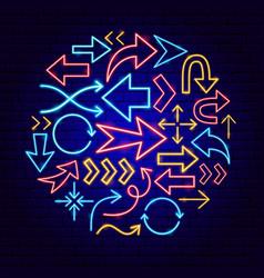 Arrow neon concept vector