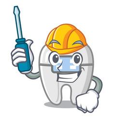 Automotive toys braces in mascot box vector