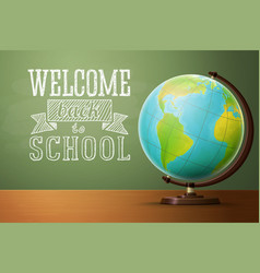 Back to school banner template with globe vector