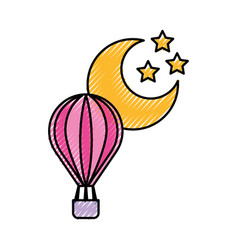 Balloon air hot with moon vector