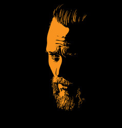 Bearded man portrait silhouette in backlight vector