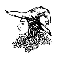 beautiful woman using witcher hat in the vector image