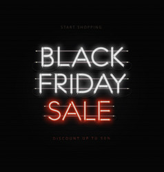 black friday sale neon banner poster sign dark vector image
