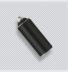 Black paint aerosol spray metal bottle can vector