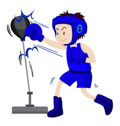 Boxer in blue outfit practice punching vector