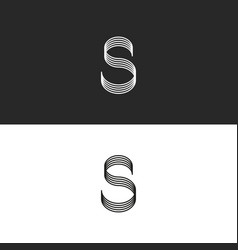 calligraphy letter s logo monogram smooth lines vector image