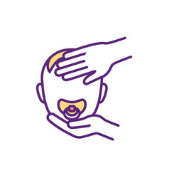 Caring for sick baby rgb color icon vector