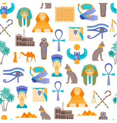 cartoon symbol of egypt seamless pattern vector image vector image