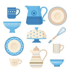 ceramic cookware kitchen utensils trendy vector image