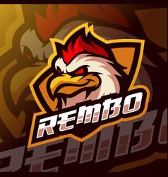 Chicken mascot logo esport vector