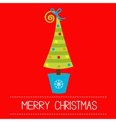 Christmas tree in pot Merry Christmas card vector image