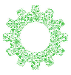 Cogwheel composition of glad smiley icons vector