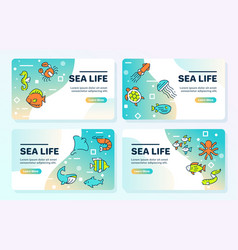 color linear icon sea life banner set vector image
